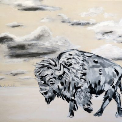 2021_paintings_bison-revolution_01_adrian-stimson