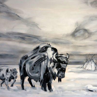 2021_paintings_bison-revolution_02_adrian-stimson